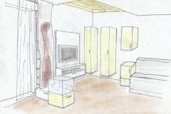 Entwuerfe_Perspektive-eines-Wohnzimmers-in-Birkendekor-und-weisz-Hochglanz-massiver-Nusspfosten-als-Zierelement